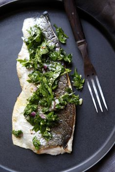 pan seared trout with parsley salsa