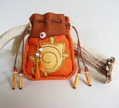 TURTLE deerskin leather MEDICINE BAG Spirit Pouch, Shaman, Talisman, Animal Guide, Tarot, Spiral, with coral, Mauritanian Conus Shel