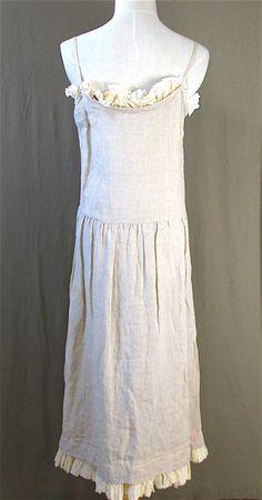 COMME des GARCONS. Japan. Robe de Chambre. Linen Maxi Dress Beige One Size