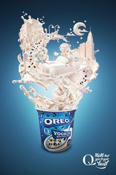 Print and outdoor campaign for Q Meieriene yogurt with Oreo and Non Stop bits. Creative Advertising, Food Advertising, Ads Creative, Creative Posters, Advertising Poster, Advertising Campaign, Advertising Design, Marketing And Advertising, Creative Design
