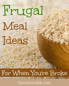 Frugal Meal Ideas for When You're Broke! We've all been there…that bank account is dwindling and payday is still a week away. It seems as though it's much easier to spend more at he grocery store because there are so many options and convenience food at the grocery store. If you are looking for some …