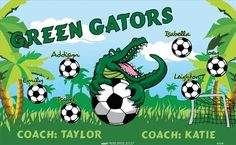 Green Gators B55240  digitally printed vinyl soccer sports team banner. Made in the USA and shipped fast by BannersUSA.  You can easily create a similar banner using our Live Designer where you can manipulate ALL of the elements of ANY template.  You can change colors, add/change/remove text and graphics and resize the elements of your design, making it completely your own creation.