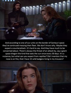 I so wish Marcus stayed on b5 longer. You can't get sarcasm like this from just anyone. Babylon 5 rewatch 3x8
