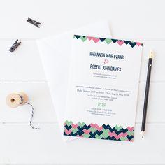 Bilingual wedding invitation by Draenog Design - Gwahoddiad priodas dwyieithog Rhiannon a Robert Personalised Wedding Invitations, Wedding Stationery, Invite Your Friends, Rsvp, Envelope, Groom, Wedding Day, Weddings, Bride