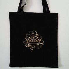 Black cotton tote, black cotton shopping bag, black tote, long handled tote bag embroidered with a gold crown, embroidered bag. by JaneAtNumber13 on Etsy
