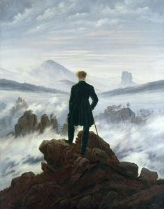 Caspar David Friedrich, 'The Wanderer above the Sea of Fog' (1818). The great outdoors…  Man has conquered earth with a walking stick.  He has a moment of self-reflection as he gazes into the murkiness.  Is he staring into the unknown future?  Is he considering his own insignificance within the wilderness?  This is about as Romantic as it gets.  May 15, 2012
