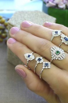 18K solid white gold sapphire and diamond vintage door MyGourmette