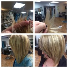 Before is on the left hand side and the right is the after effect of using Olaplex! Look at the difference in shine and in strength compared to before! Wonderful results!