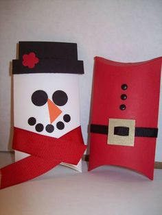 Stampin' Up!  Pillow Box Snowman and Santa  Jamie Hurley  Christmas