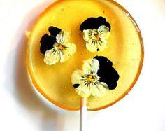Gourmet Licor Alcohol Choice Pansy, comestibles Lollipops gigantes, confitadas…