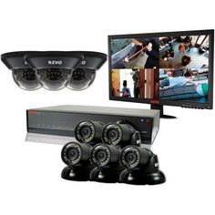 Revo Lite 16-Channel 2TB 960H DVR Surveillance System with Eight 700TVL Cameras and Monitor, Multicolor