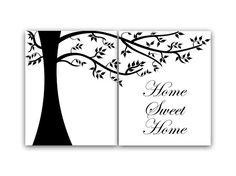 Home Sweet Home Wall Art home decor wall art canvas, home sweet home, slate blue wall art