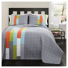 Shelly Stripe Quilt 3 Piece Set (King) Orange/Blue - Lush Décor, Gray