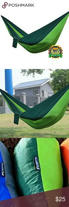 NWT Ultralight Nylon Parachute Hammock & Bag NWT  Green & Black Ultralight Nylon Parachute Hammock for Light Travel Backpacking Camping includes Ropes, Steel Carabiners & Carry Bag this SINGLE HAMMOCK - Unfolded dimensions are Approx 275 cm long (108 inch) -140cm wide (65 inch), great size for one person Made with Super Strong 210T parachute nylon fabric -Soft Breathable Fabric supports up to 400lbs.LIGHTWEIGHT & PORTABLE - All pieces fit in a lightweight 19 oz bag, great for backpacking…