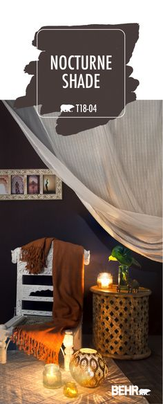 This boho-chic living room is full of home decor inspiration. It all starts with Behr Paint in Nocturne Shade. When paired with purple, orange, and gold accent colors; vintage candles; and modern houseplants, this dark plum color helps to create a peaceful, calming space. Click below to see how you can get this look for yourself. Behr Paint Colors, Paint Color Schemes, Living Room Color Schemes, Boho Chic Living Room, Living Room Red, Purple Rooms, Vintage Candles, Painted Pots, Rooms Home Decor