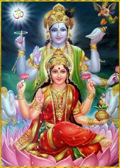 Lakshmi is the Hindu god of wealth, fortune & prosperity and also the wife of Lord Vishnu. Here is a collection of Goddess Lakshmi Images & HD wallpapers. Indian Goddess, Goddess Lakshmi, Deus Vishnu, Art Indien, Yoga Studio Design, Lakshmi Images, Lakshmi Photos, Lord Vishnu Wallpapers, Shiva Shakti