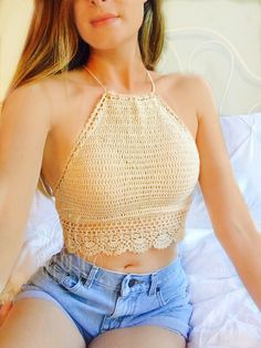 Crochet White Crop Top Gypsy Crochet Top for by BaileyRayandCo