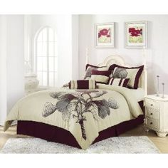 Chezmoi Collection Fleur-Com-Queen 7-Piece Burgundy Ivory Quilted Comforter Set