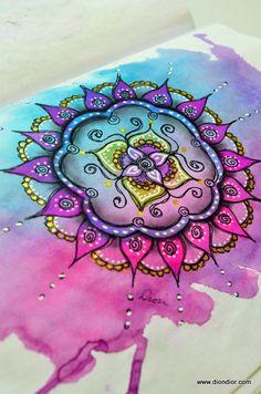 "mandala color Dion Dior & More.: ""Joy"" of the Circle Mandala Design, Mandala Art, Mandalas Drawing, Mandala Tattoo, Flower Mandala, Zentangles, Lotus Flower, Mandala Colour, Watercolor Mandala"