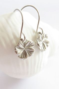 Tiny silver hibiscus earrings silver flower