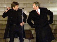 George W. Bush  President-elect George W. Bush dances with singer Ricky Martin during the Presidential Inaugural Opening Celebration at the Lincoln Memorial in Washington, Jan. 18, 2001. His father attended his swearing-in on Jan. 20, 2001, the first time a former president attended his son's inauguration