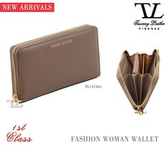 New Exclusive Saffiano Fashion Wallet for Woman. 3 comfortable compartments and a safe zip closure.  #tuscanyleather