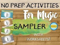 No Prep Activities for Music Sampler. A freebie with videos and accompanying worksheets for easy and quick sub plans. Music Education Games, Music Activities, Music Games, Preschool Music, Teaching Music, Music Classroom, Music Teachers, Classroom Ideas, Middle School Music