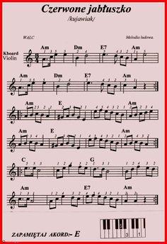 Czerwone jabłuszko-kujawiak. Violin Music, Kalimba, Clarinet, Music Theory, Ukulele, Sheet Music, Musicals, Lyrics, Partitions