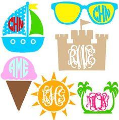 Summer Monograms instant download cut file - svg, studio3, studio, ps, eps, dxf (monogram fonts sold separately)
