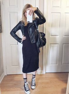 Black midi dress | Leather jacket | Fish net socks | Leather Converse |