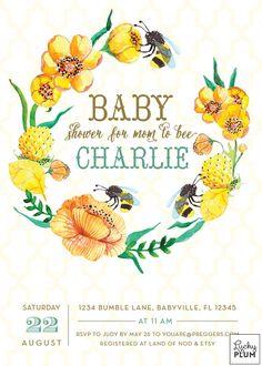 Bee Baby Shower Invitation / Bumble Bee Baby by LuckyPlumStudio