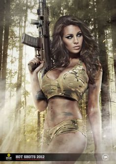 (NSFW) Girls and Guns (contains provocative pictures) Part II - Page 11 - XDTalk… Hot Shots Calendar, Holly Peers, Military Girl, Military Female, Army Mom, Military Style, Firearms, Shotguns, Sexy Women