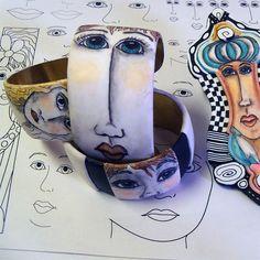 Modèles de visage pour stylo et encre sur argile polymère