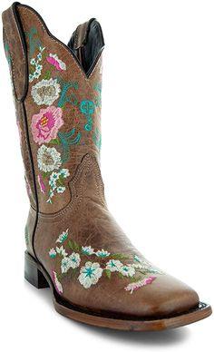 Amazon.com | Soto Boots Women's Jasmine Floral Square Toe Cowgirl Boots M50043 (Tan, 5.5 B(M) US) | Mid-Calf Girl Cowboy Boots, Warm Winter Boots, Floral Boots, Snow Boots Women, Pull On Boots, Bearpaw Boots, Tan Leather, Calves, Jasmine