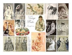 VINTAGE BRIDES digital collage sheet weddings by Lunagirl on Etsy (Craft Supplies & Tools, Scrapbooking Supplies, Scrapbooking Clip Art, art, collage, mixed media, altered, ephemera, digital, paper, card, tag, antique, wedding, bride, victorian)