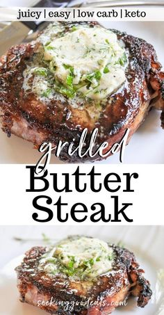 Herbed Butter Steak (Simple Steak Recipe Grilled With Garlic Herb Butter), is a delicious recipe resulting in the tastiest steak you've ever eaten! So simple to make with only a few ingredients and minimal work, you can easily make this on the grill. This is the perfect recipe for your next cookout or BBQ. Seasoned butter steak is a low carb, keto, and paleo friendly grilling recipe!