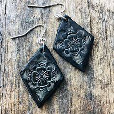 Hand Tooled Leather Earrings Petite Diamond Shaped Leather