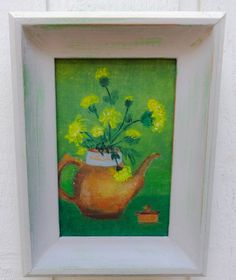 Flowers in Teapot Original Framed Oil Acrylic by PartialtoPretty