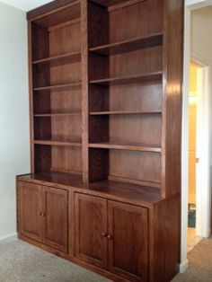 Inwood Furniture Oak Wall Unit-Finished in General Finishes Antique Cherry & Gel Poly.