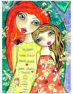 our-children-mixed-media-motherhood-art by lisa ferrante Mixed Media Journal, Mixed Media Art, Youre My Person, Whimsical Art, Face Art, Medium Art, Altered Art, New Art, Amazing Art