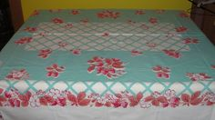 Strawberries on aqua background Tablecloth