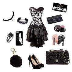 """""""BLACK"""" by maria-matilde-ibsen on Polyvore featuring GUESS, MICHAEL Michael Kors, West Coast Jewelry, DANNIJO, MAC Cosmetics and Boohoo"""