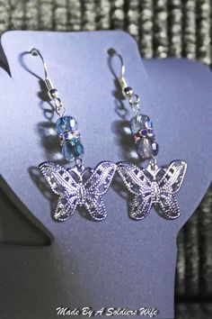 Butterfly Dangle Earrings by MadeByASoldiersWife on Etsy