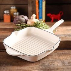 """The Pioneer Woman Timeless Square Cast Iron 10.25"""" Cast Iron Enamel Grill Pan - Walmart.com in RED"""