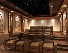 """Prominence"" Theater Design - Home theater interior design concept by Cinema Design Group, International. Originally designed for - Home Theater Room Design, Theater Room Decor, Home Cinema Room, Best Home Theater, Home Theater Setup, Home Theater Rooms, Home Theater Seating, Movie Theater, Installation Home Cinema"