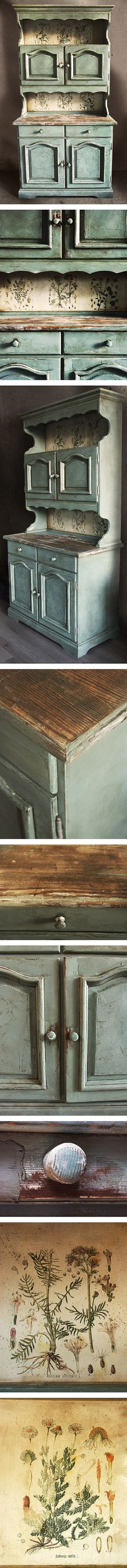 Unique, hand decorated, beautiful details. Vintage cupboard, refreshed, restyled, distressed and stained to get the chippy look. Hand painted with annie sloan chalk paint in duck egg blue, beautiful blue with gray hue. Sealed with linseed oil and wax. Botanical illustrations come from 19th century herbarium book. Stabile and sturdy furniture. Wonderful item for farmhouse, vintage, brocante and industrial interiors. By eacolours. https://www.etsy.com/shop/eacolours
