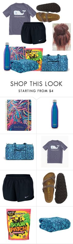 """road trip outfit"" by kstprep ❤ liked on Polyvore featuring Lilly Pulitzer, S'well, Vera Bradley, Vineyard Vines, NIKE and Birkenstock"