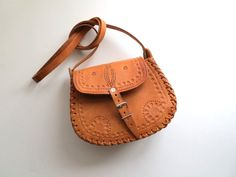 1980's Tooled Leather Satchel Cross Body by almondtreevintage