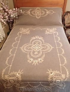 Antique Victorian French Net & Tambour Handmade Lace Coverlet www.Vintageblessings.com