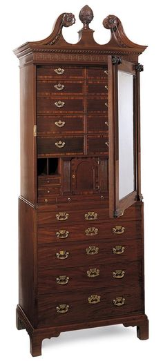 """1753 cabinet-on-chest or """"Lady's Closet"""" in mahogany and mahogany veneer with cypress,"""
